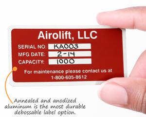 Annealed annodized aluminum labels