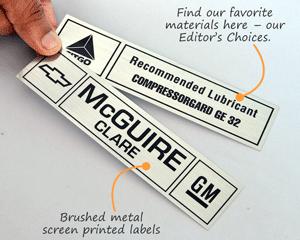 Brushed Metal Screen Printed Labels
