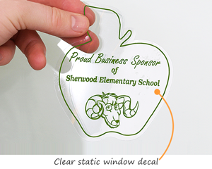 Clear static cling window decals
