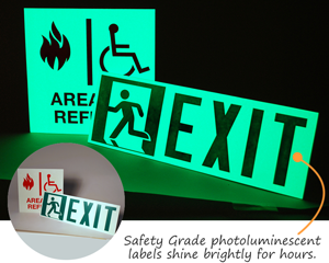 Safety Grade Photoluminescent Labels