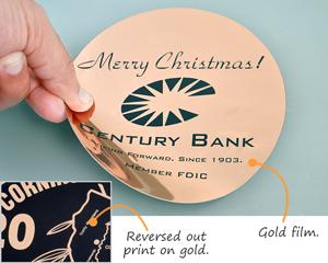 Gold metallized Mylar labels