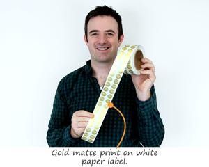 Gold matte print on white paper label