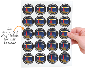 20 laminated vinyl labels for just $35.00