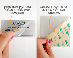 Protective premask and 3M 468 adhesive on metal nameplate