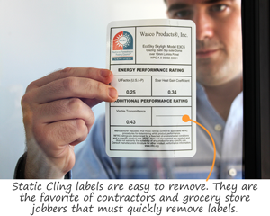 Static Cling labels are easy to remove