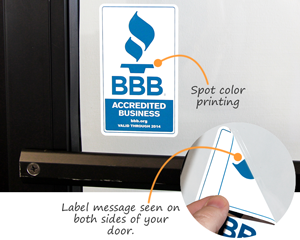 Two-sided printed decal for glass door
