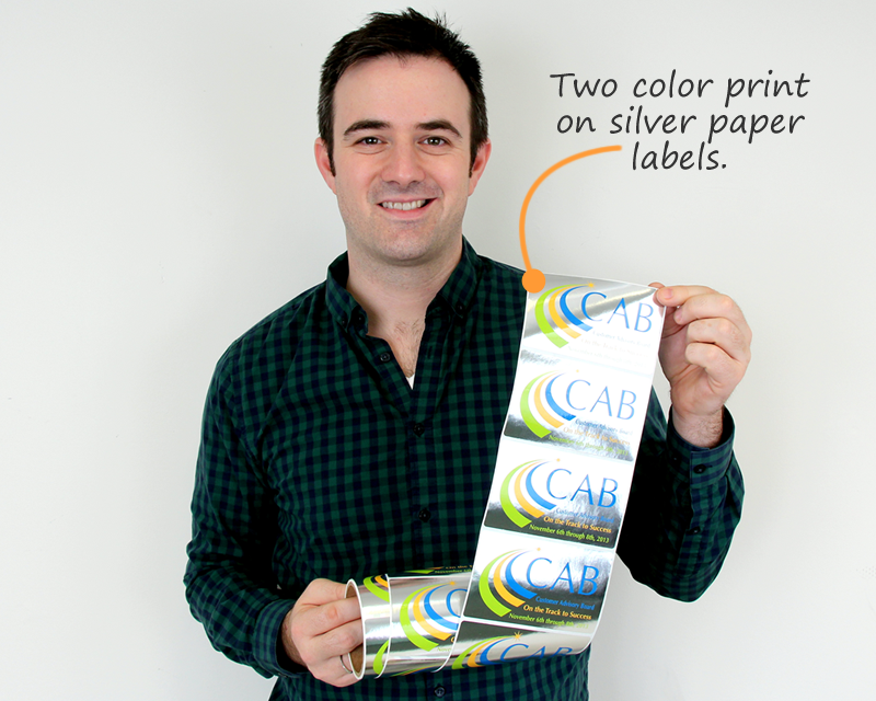 Two Color Print On Silver Paper Labels