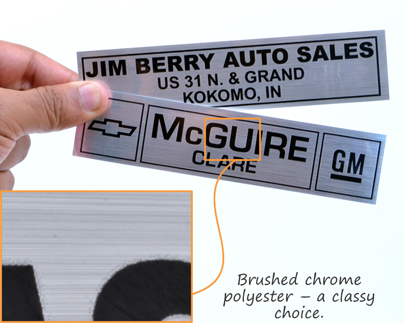 Auto dealer decal · brushed metallized mylar car decal