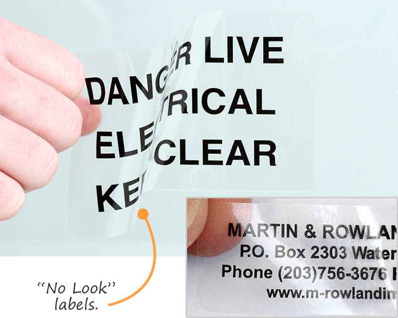 Clear sticker · no look label