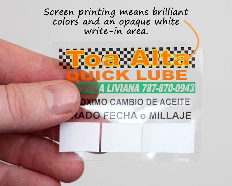 Oil Change Stickers Service Reminders