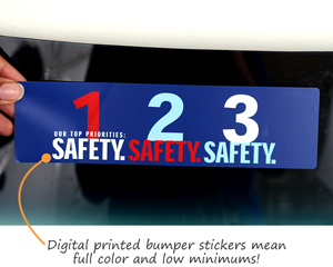 In stock bumper stickers for safety