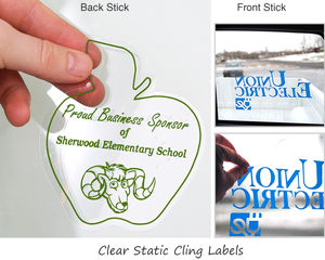 Clear Static Cling Labels