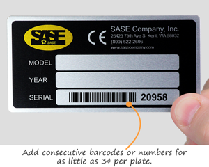 Consecutive barcode on metal nameplate
