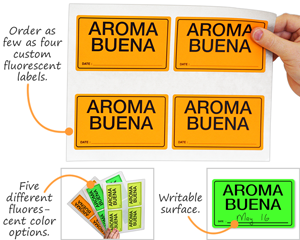 Custom printed fluorescent labels