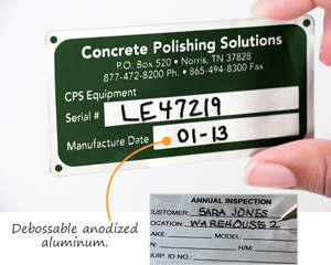 Debossable anodized aluminum