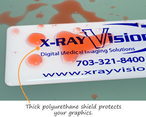 Domed labels with protective polyurethane shield