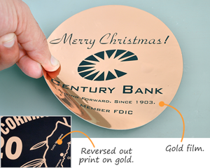 Gold metallized Mylar labels