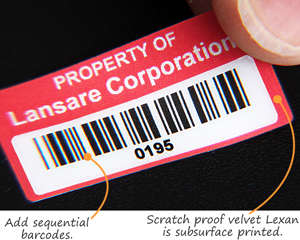 Lexan Labels with Consecutive Barcodes