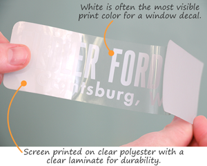 Screen printed window decal
