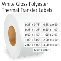 White Gloss Polyester Thermal Transfer Labels