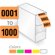 0001-1000 Color Coded Consecutively Numbered Labels In Dispenser
