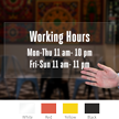 Customizable Working Hours Die Cut Label